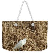 Snowy Egret In Tall Grasses Weekender Tote Bag