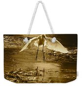 Snowy Egret Landing With Golden Tones Weekender Tote Bag