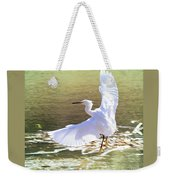 Snowy Egret Over Golden Pond Weekender Tote Bag