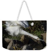 Snowy Egret Stretch Weekender Tote Bag