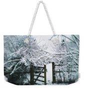 Snowy Garden Gate Three Weekender Tote Bag
