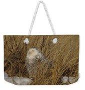 Snowy Owl In Grass Weekender Tote Bag