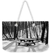 Snowy Picnic Table In Black And White Weekender Tote Bag