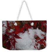 Snowy Red Maple Weekender Tote Bag