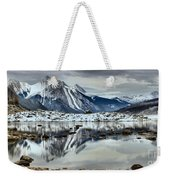 Snowy Reflections In Medicine Lake Weekender Tote Bag