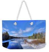 Snowy Shore Of The Moose River Weekender Tote Bag