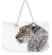 Snowy Snow Leopard Weekender Tote Bag