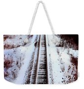 Snowy Train Tracks Weekender Tote Bag