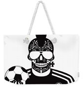 Soccer Skull Icon Background With Sunglasses And Ball. Weekender Tote Bag