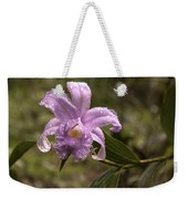 Soft Pink One-day Orchid With Droplets Of Dew Weekender Tote Bag