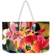 Soft Quilted Tulips Weekender Tote Bag