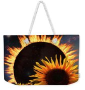 Solar Corona Over The Sunflowers Weekender Tote Bag