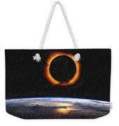 Solar Eclipse From Above The Earth Painting Weekender Tote Bag