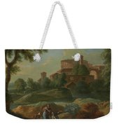 Soldiers And Dogs Near A River Weekender Tote Bag