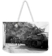 Soldiers Move Through A Smoke Filled Weekender Tote Bag