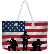 Soldiers On American Flag Weekender Tote Bag