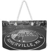 Somerville Ma Davis Square 175 Years Black And White Weekender Tote Bag