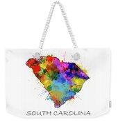 South Carolina Map Color Splatter Weekender Tote Bag