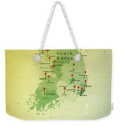 South Korea Map Square Cities Straight Pin Vintage Weekender Tote Bag