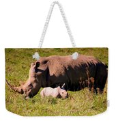 Southern White Rhino With A Little One Weekender Tote Bag