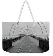 Southport Pier At Sunset With Walkway And Tram Lines Weekender Tote Bag