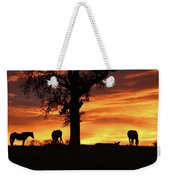 Southwestern Sunrise Color, Silhouetted Oak Tree And Three Horses Weekender Tote Bag
