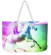 Space Cat Riding Unicorn - Laser, Tacos And Rainbow Weekender Tote Bag