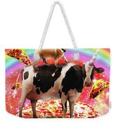 Space Pug Riding Cow Unicorn - Pizza And Taco Weekender Tote Bag