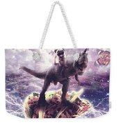 Space Pug Riding Dinosaur Unicorn - Pizza And Taco Weekender Tote Bag