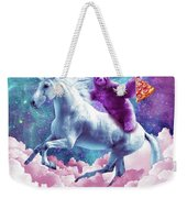 Space Sloth On Unicorn - Sloth Pizza Weekender Tote Bag