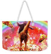 Space Sloth Riding Giraffe Unicorn - Pizza And Taco Weekender Tote Bag