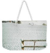 Spade Leaning Against Fence In The Snow Weekender Tote Bag