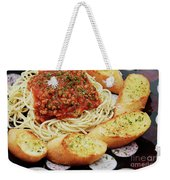 Spaghetti And Meat Sauce With Garlic Toast  Weekender Tote Bag by Andee Design
