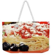 Spaghetti With Tomatoes And Olives Food Background Weekender Tote Bag