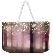 Sparkling Fantasy Fairytale Trees Nature Pink Woodlands - Sparkling Lights Bokeh Fantasy Trees Weekender Tote Bag