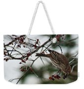 Sparrow Eating Berry Weekender Tote Bag