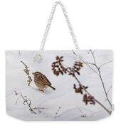 Sparrow In The Winter Snow Weekender Tote Bag