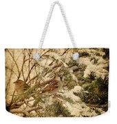 Sparrow In Winter Iv - Textured Weekender Tote Bag