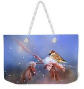 Sparrow In Winter Weekender Tote Bag