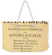 Species Plantarum, Linnaeus, 1753 Weekender Tote Bag