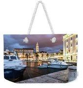Split Harbor Night View In Croatia Weekender Tote Bag