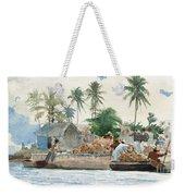 Sponge Fisherman In The Bahama Weekender Tote Bag by Winslow Homer