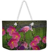 Spoonbill Through The Flowers Weekender Tote Bag