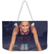 Sportive Woman Doing Pushups Outdoors Weekender Tote Bag