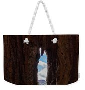 Spot The Lake Shore View Through The Hollow Tree Trunk Weekender Tote Bag
