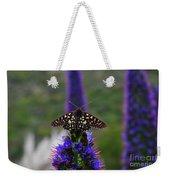 Spotted Moth On Purple Flowers Weekender Tote Bag