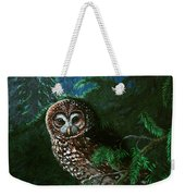 Spotted Owl In Ancient Forest Weekender Tote Bag