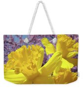 Spring Art Prints Yellow Daffodils Flowers Pink Blossoms Baslee Troutman Weekender Tote Bag