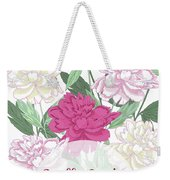 Spring  Background With White And Pink Peony Weekender Tote Bag