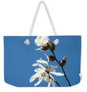 Spring Blue Sky Floral Art Print White Magnolia Tree Baslee Troutman Weekender Tote Bag